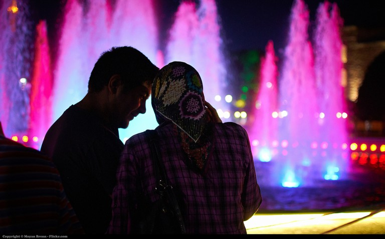 A couple share a moment in Istanbul's main square