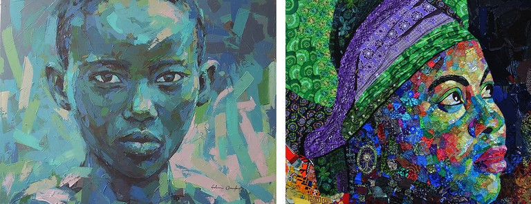 Left: Solomon Omogboye, Determination, Acrylic on Canvas