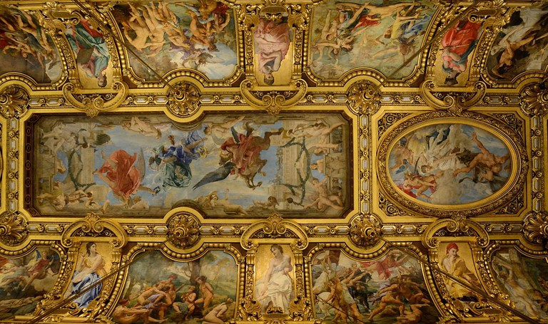 Part of the ceiling by Paul-Jacques-Aimé Baudry (1828–1886) in the Grand Foyer at the Opéra Garnier, Paris │© Peter Haas / Wikimedia Commons