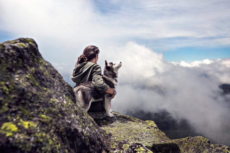 Hiking with a husky