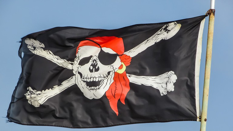 An example of a Jolly Roger, the flag hung on pirate ships