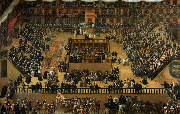 A painting by Fernando Rizi (in Museo del Prado) of Spanish Inquisition trials taking place in the Plaza Mayor in 1680