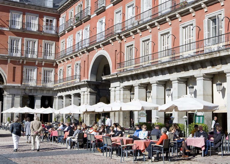 Outdoor drinks in the Plaza Mayor in Madrid.