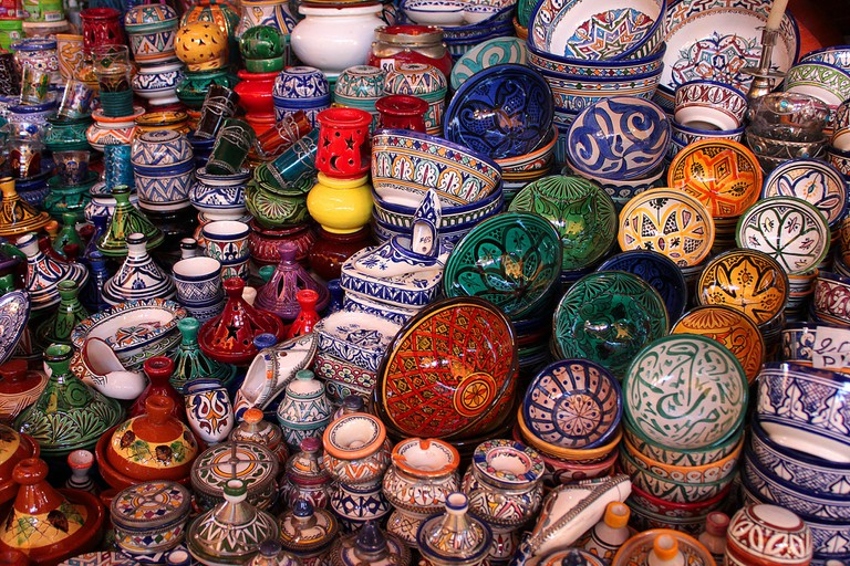 Moroccan pottery in a souk