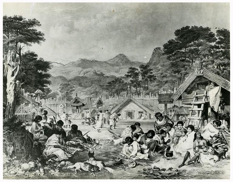 Pūtiki pā on the Whanganui River in 1850