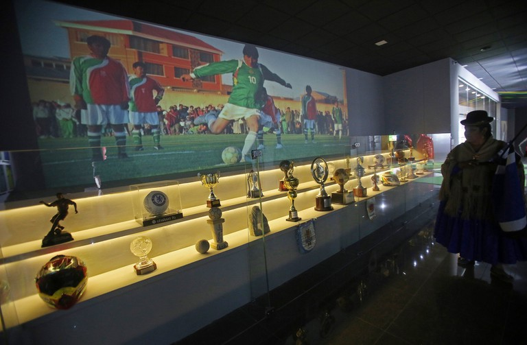 View of sport trophies and sports memorabilia that were given to Bolivian President Evo Morales