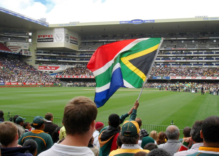 Supporters waving the South African flag