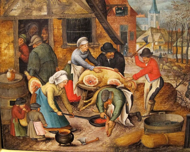 Pig slaughter ritual by Flemish painter Peter Brueghel the Younger