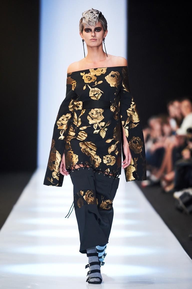 A model wears Saint-Tokyo