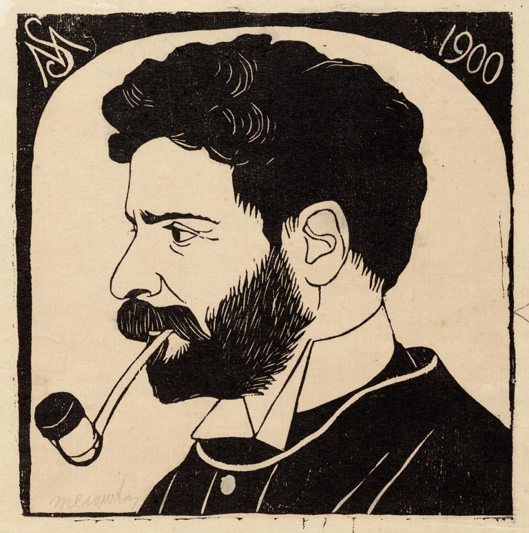 Early self-portrait of Samuel Jessurun de Mesquita (1900)