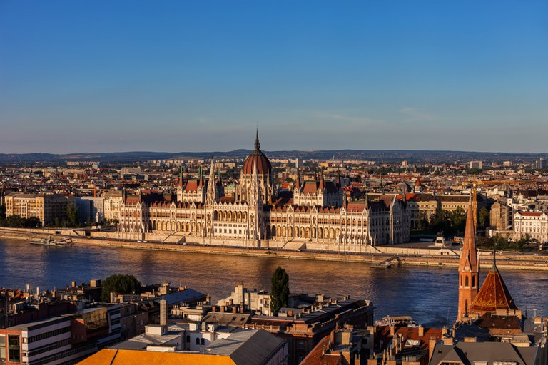 Hungarian Parliament Building at Danube River, Budapest, Europe