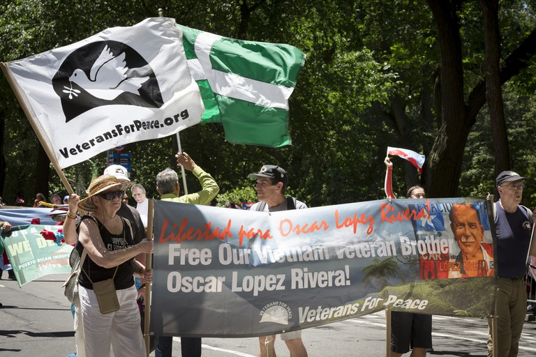 Marching in support of Oscar Lopez Rivera