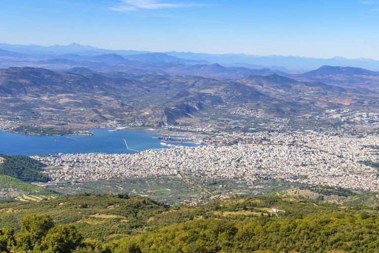 Aerial view of Volos city, the capital of the Magnesia regional unit. View from Pelion mountain