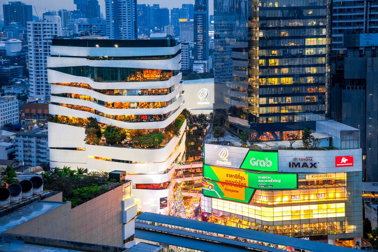 The Emquartier Shopping Mall with the view of Bangkok Skyline on Sukhumvit road