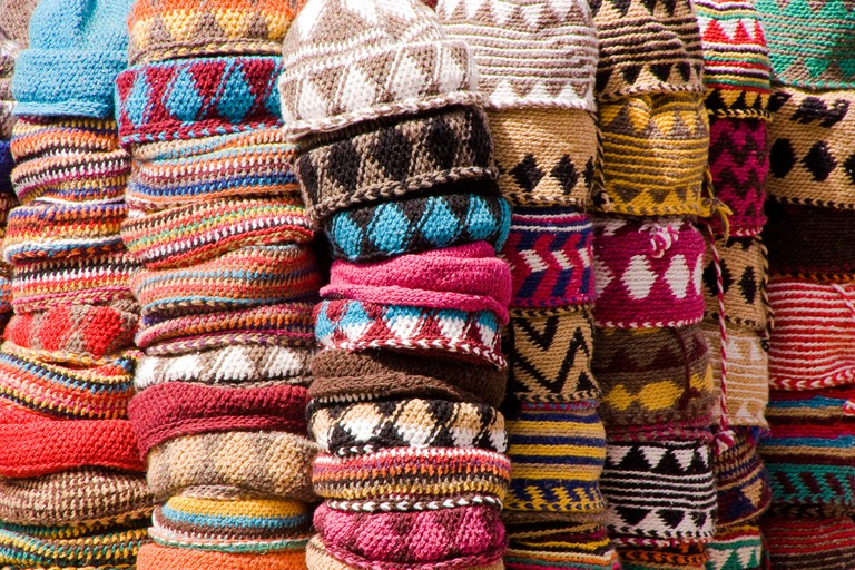 Hats on display in a souk