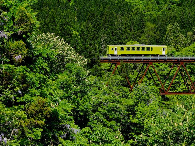 Train travelling in Akita