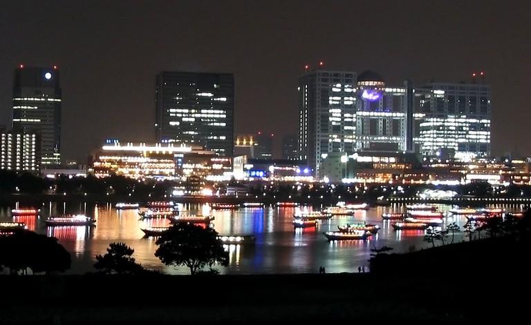 Yakatabune glowing in Tokyo Bay