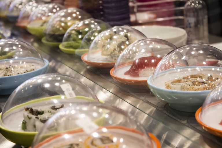 Dishes on the conveyor belt at YO!