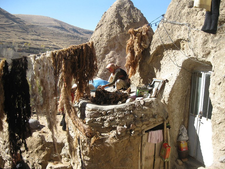 The cone shaped homes of Kandovan have been carved in volcanic rock