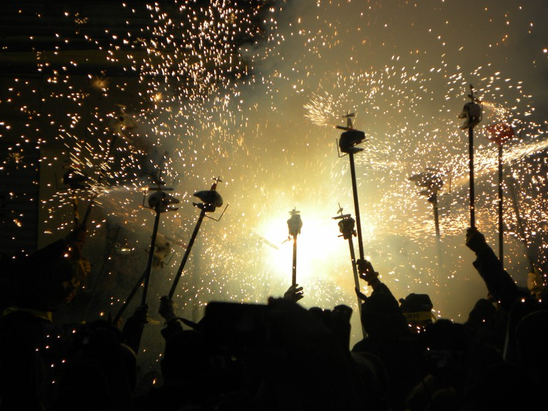 A Correfoc at the Gracià Festa Major in 2013