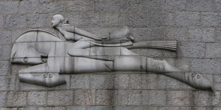 Bas Relief Sculpture, Wind, by TB Huxley-Jones, Rosemount Square