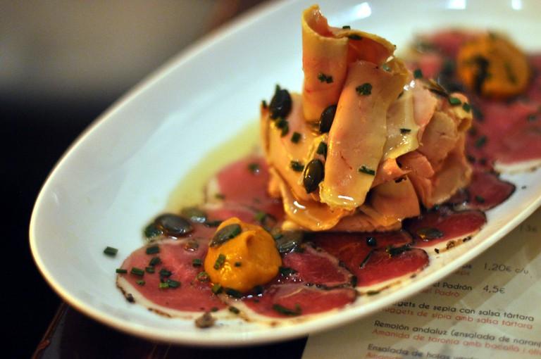 Foie gras, duck breast and pumpkin at Elsa y Fred