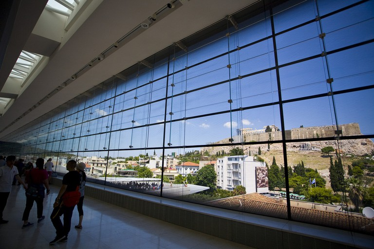 View of the Acropolis from inside the Acropolis Museum, Athens