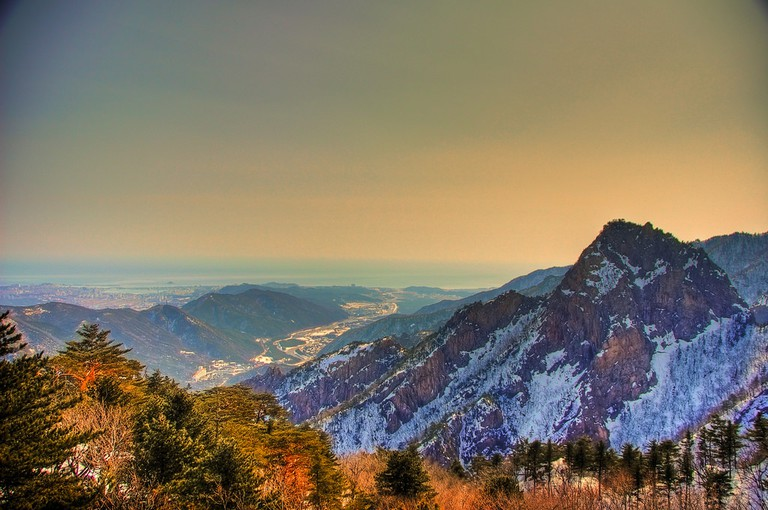 Seoraksan National Park, with Sokcho's sea in the distance