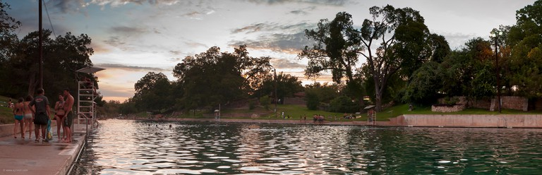 Austinites recognize Barton Springs Pool as the backdrop to a dramatic scene in Terrence Malick's Tree of Life (2011)