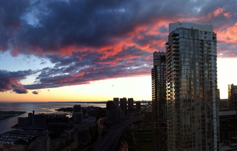 Sunset across condo towers in Toronto
