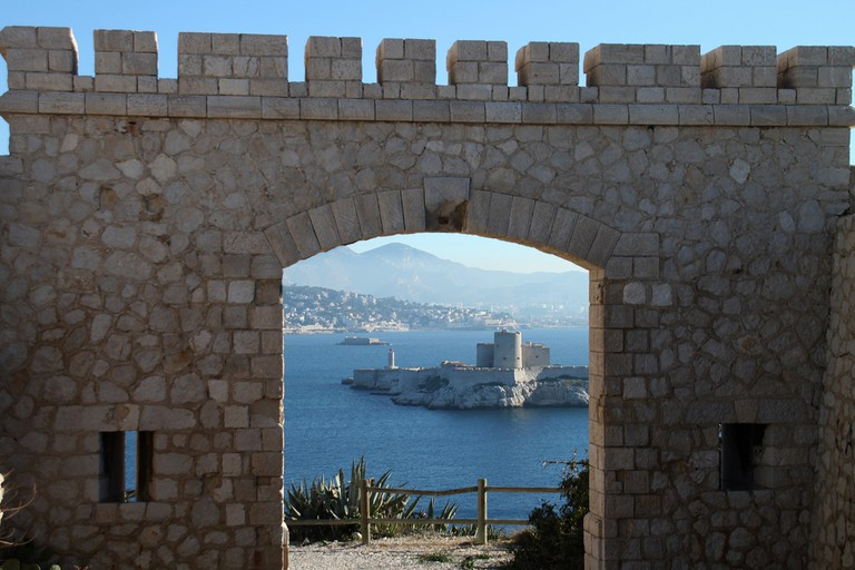 Château d'If seen from the island of Frioul with Marseille in the background