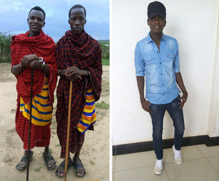 Elias (left) in traditional Maasai outfit and (right) how he dresses for university