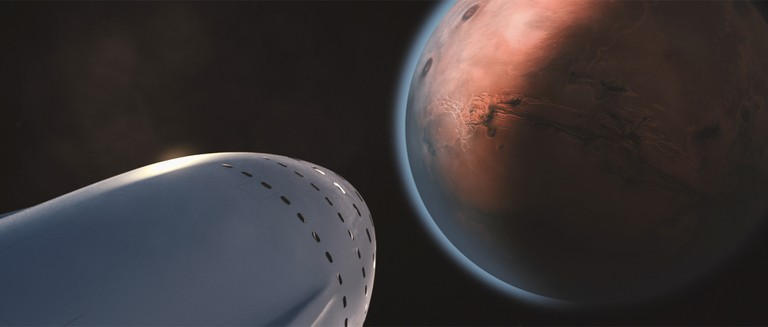 An artist's impression of SpaceX's approach to Mars