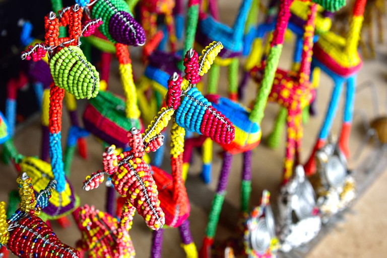 Beaded giraffes at the popular Chameleon Craft Village in Hartbeespoort, North West