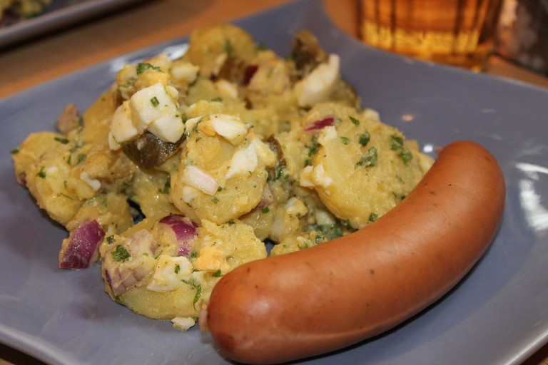 Bockwurst, served with potato salad