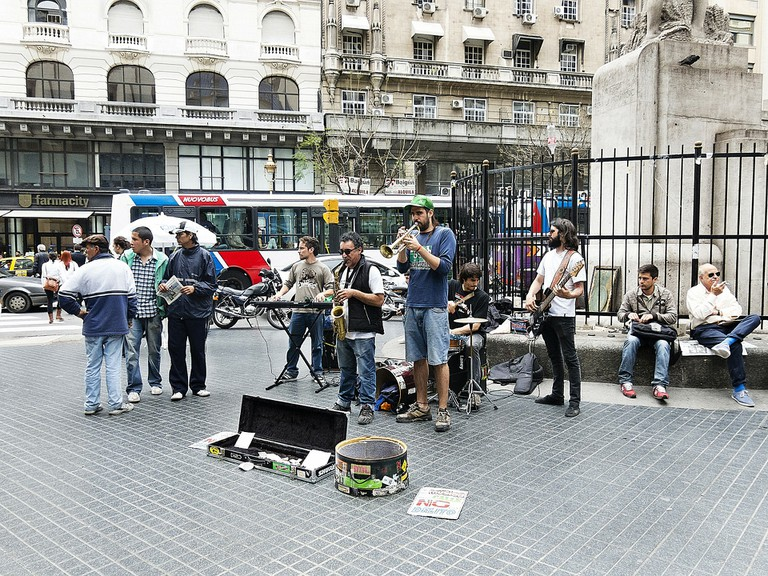 Musicians in a plaza in Buenos Aires, Argentina