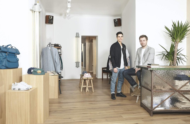 Jérémy and Nicolas at their cozy downtown boutique, tackling both streetwear and classic menswear staples | courtesy of Centreville