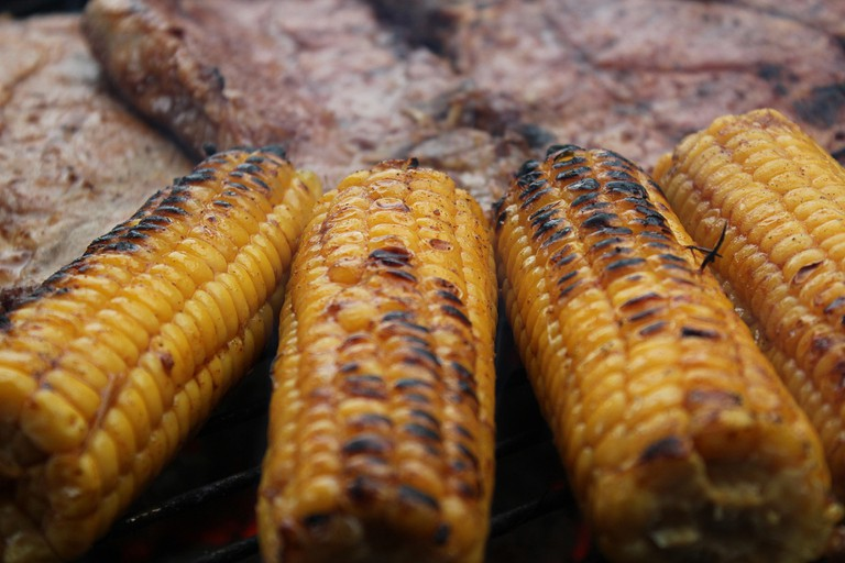 Grilled corn on the cob is a popular side dish