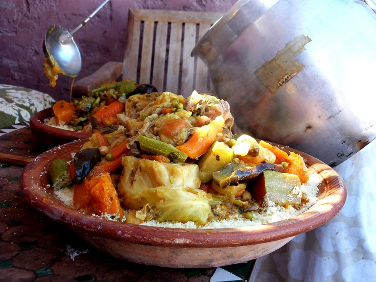 Couscous piled high with various vegetables