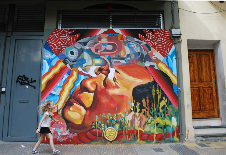 "Nicolas Romero Escalada's ""Description of the Arrival of an Ideology,"" mural, Villa Crespo, Buenos Aires"