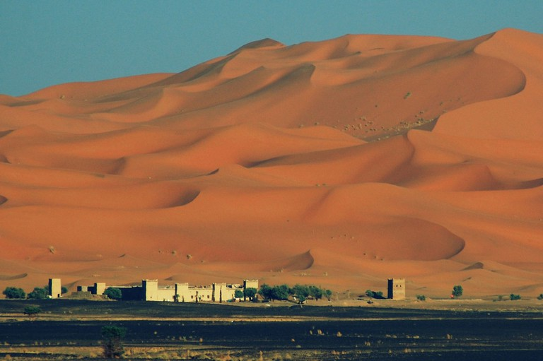 Large sand dunes in Morocco