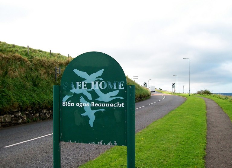 Slán agus Beannacht sign at the village of Ballintoy