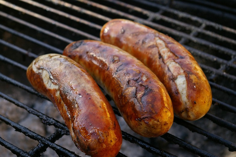 Grilled sausage on the barbecue