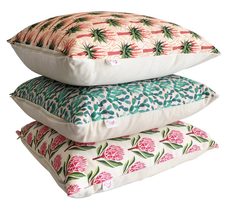 Protea, Aloe and Prickly pear cushion covers from Handmade by Me © Courtesy of Handmade by Me