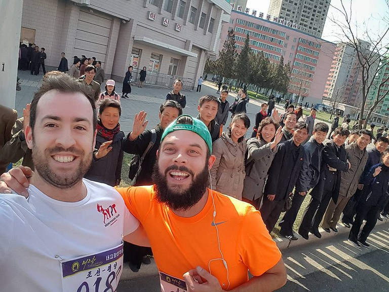 Shane Horan (left) ran the 2017 Pyongyang Marathon