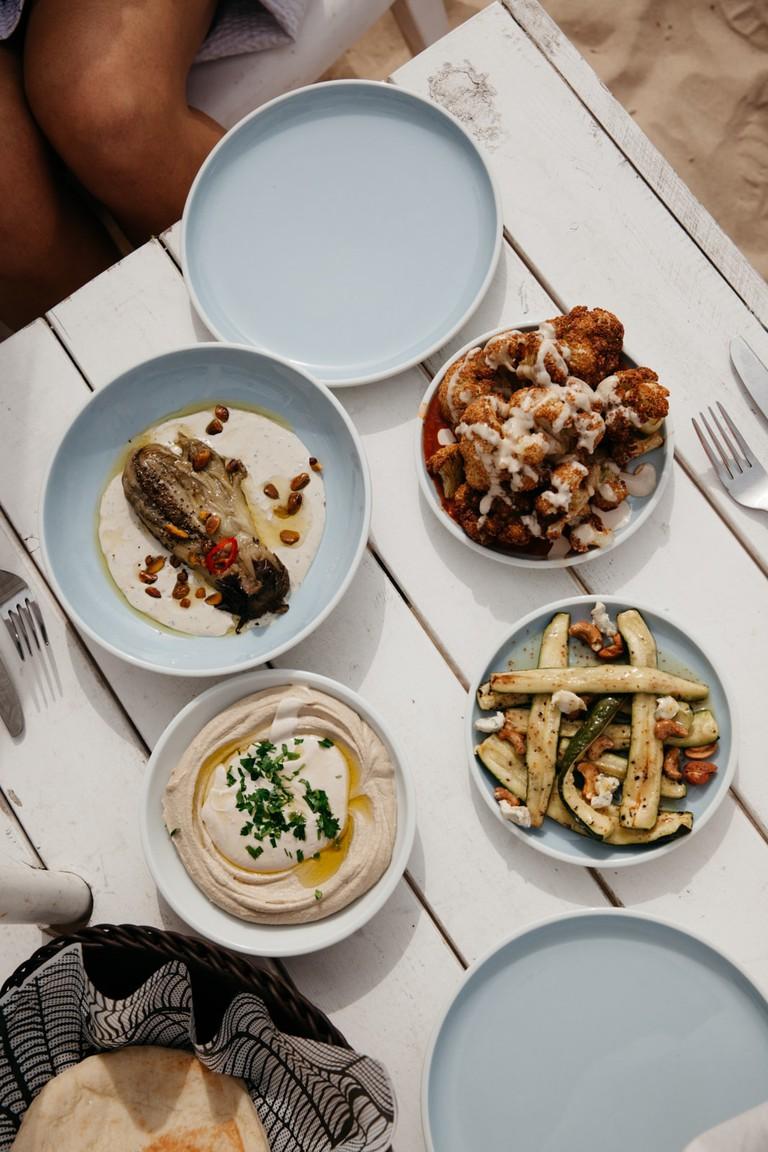 Hummus and roasted vegetables are Tel Aviv staples