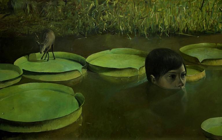 """Lula Mari's """"Diana Cazadora"""" (Huntress Diana), oil on canvas, 2009"""