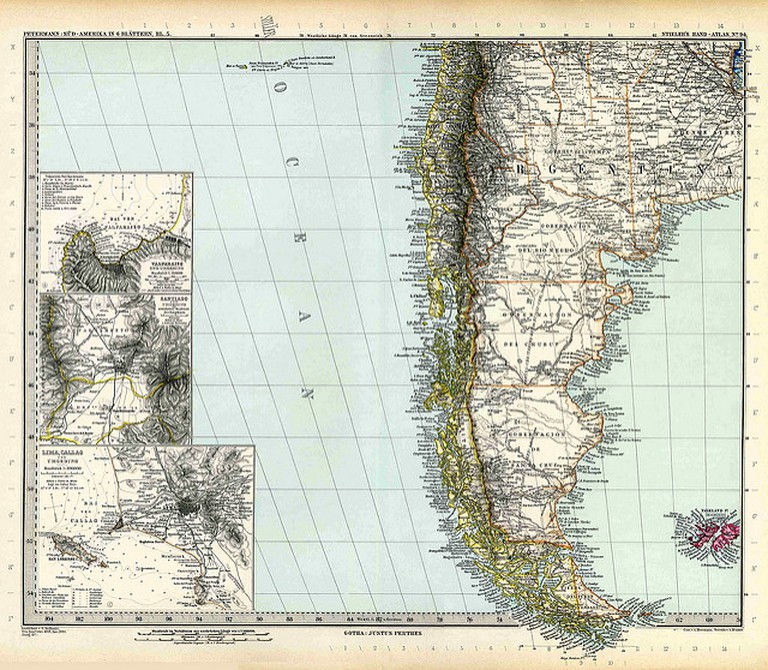 An 1891 map of Patagonia, Argentina