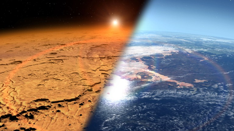 An artist's impression of how Mars may have looked in its early days, compared to now on the left