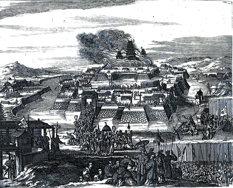 Early representation of the destruction of Osaka Castle